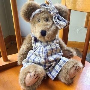 BOYDS BEAR lavender plaid overall teddy bear plush